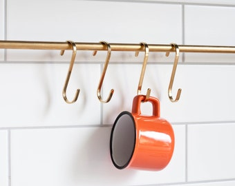 kitchen S - hooks, solid brass S hooks, stainless steel S hooks, copper S hooks, hook strap, kitchen hooks, pan hooks, pot hook, shooks