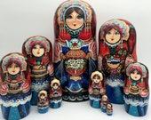 10-pieces Matryoshka set, Russian Nesting dolls, Babushka