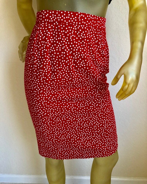 YSL Red Cotton 80's Pencil Skirt, XS