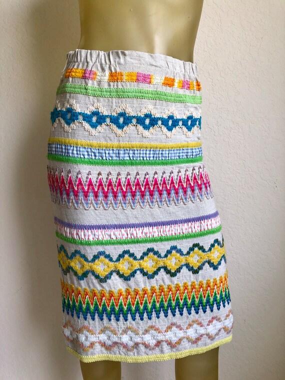 I.Magnin 60's Zigzag Rainbow Stripe Embroidered Pe