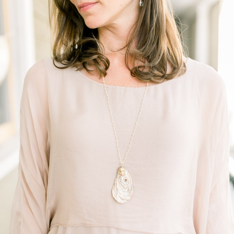 Handmade Golden Tide Bridesmaid Gift Holiday Accessories Oyster Necklace Charleston