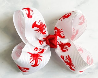 Crawfish bow low country boil girl bows faux leather bows faux leather Louisiana baby bows