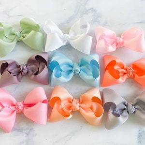 Baby and Kids Bows Handmade and Hand Tied on Alligator Clip or Nude Nylon Cute Pink Pig Bow
