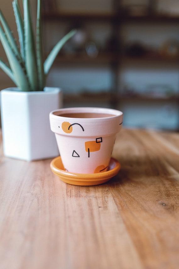 Orange Multi-Shape  Hand-Painted Terracotta Pot w Saucer