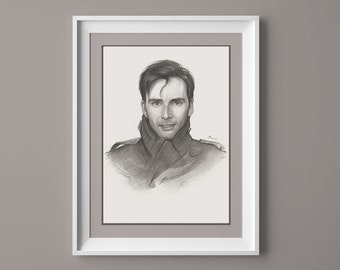 David Tennant Bw Portrait Poster 24x36/""