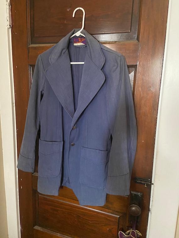Landlubber Vintage Denim Suit Jacket 70s Blue Unis
