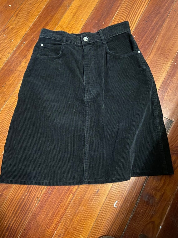 Vintage 80s PS Gitano Corduroy Black Short Skirt S