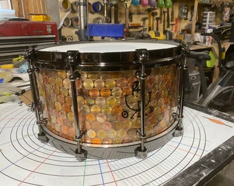 Torched Penny epoxy resin snare drum