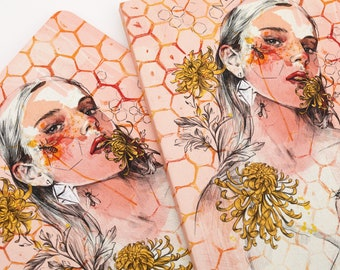 Exclusive notebook, writing journal, sketchbook, unique notebook, gift for women, women illustration, designer stationery, blackfriday