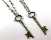 Brass and Beaded Chain Skeleton Key Necklace by Violet Fawn