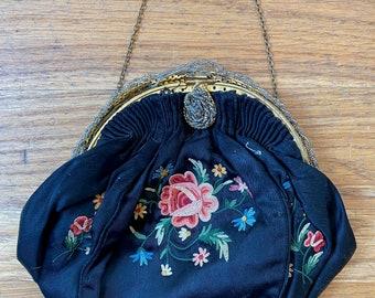 Antique Black Satin Embroidered Handbag Floral w Gold Frame Victorian