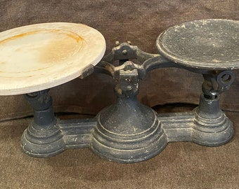 Antique 1900s Cast Iron Scale with Slab of Marble General Store