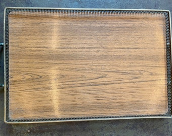 Mid Century Wood & Brass Footed Breakfast Tray Vintage Serving