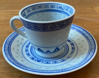 ROYCO Tea Cup and Saucer Vintage Blue & White Rice Pattern Made in China