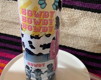 Punchy, cow girl, tumbler, water bottle, cowgirl kitchen decor, western kitchen, punchy style