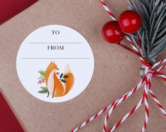 Christmas gift tag Stickers - A4 Sheet - Woodland animal stickers - Perfect for Christmas presents instead of using gift tags
