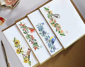 32 Sheet writing paper & 16 kraft envelopes Letter box Gift Set Floral bird design - Birthday present or thinking of you postbox pack