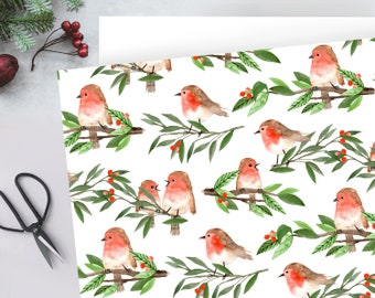 Traditional vintage Christmas robin with foliage & red berries wrapping paper - FOLDED single sheet wrap in a beautiful matt finish