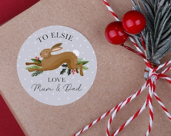 Personalised Rabbit Christmas Stickers - A4 Sheet - Woodland animal stickers - Perfect for Christmas presents instead of using gift tags