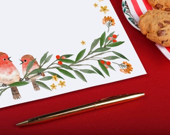 A4 robin writing paper sheets - Cute Christmas birds with foliage & berries - Christmas present or thinking of you letter writing gift