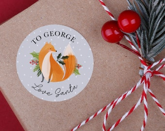 Personalised Fox Christmas Stickers - A4 Sheet - Woodland animal stickers - Perfect for Christmas presents instead of using gift tags