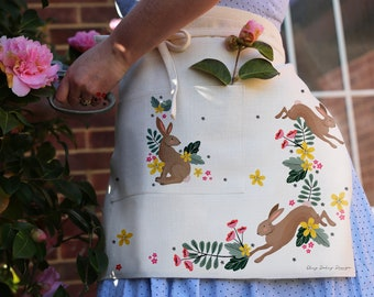 Bunny Rabbit Apron with beautiful floral design. Natural linen coloured - Perfect for a gardening apron or kitchen apron