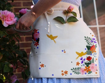 Apron with beautiful flower and birds design. Natural linen coloured - Perfect for a gardening apron or kitchen apron