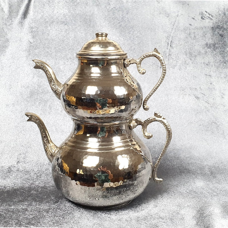 Silver Copper Hand forged Turkish Tea pot