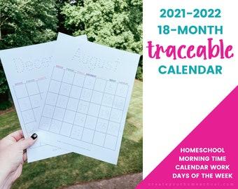 Traceable Calendar -- 2021-2022 18-Month Printable Calendar for Kids, Circle Time Calendar