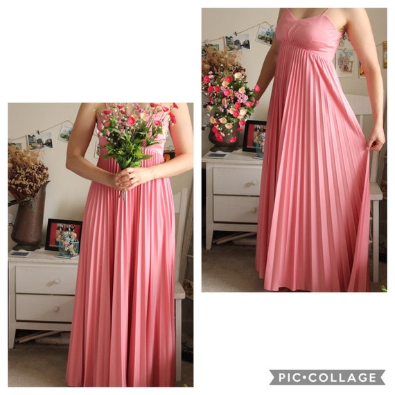 Vintage 1970s Pleated Pink Maxi Dress, Long Summer