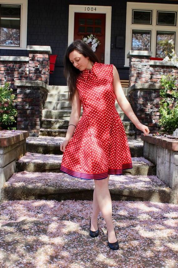 Vintage 1950 Red and White Polka Dot Dress, Nancy
