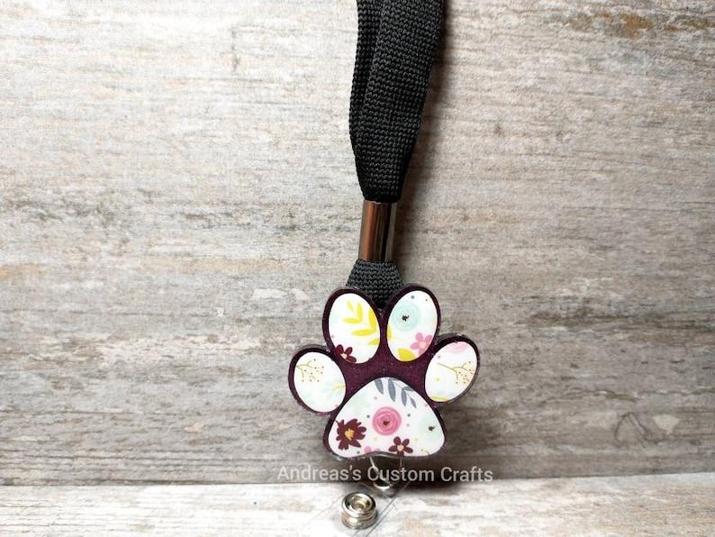 Lanyard Topper Teacher Cat Vet Nurse Dog Interchangeable Badge Reel Purple Floral Paw Print Badge Reel Swivel Alligator Clip