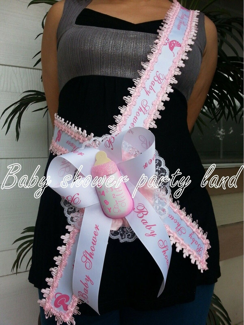 Welcome Baby Shower Mom To Be It/'s a Girl Sash Pink Bottle Ribbon and Corsage