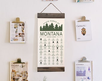 MT State Park Checklist WITH Pen // Travel Montana Adventure // MT Bucket List Vacation Hiking Gift // Montana Camp Explore Travel Decor