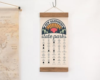NH State Park Adventure Checklist WITH Pen // New Hampshire State Park // Travel New Hampshire Gift // Home Decor Wall Art // Camp Hike NH