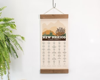 NM State Park Adventure Checklist  WITH Pen // New Mexico State Park // Travel New Mexico Gift // New Mexico Checklist Map // Hiker Gift