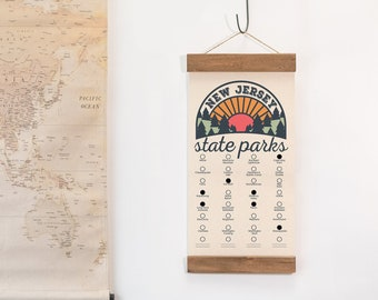 NJ State Park Checklists WITH Pen // New Jersey State // Canvas Hanging Sign // Handmade Adventure Gift // Experience Explore New Jersey