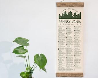 Pennsylvania State Park Checklist WITH Pen // Travel Pennsylvania Adventure // PA List Vacation Gift // Hike Camp Art Bike Explore PA