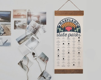 MD State Park Checklist WITH Pen // Travel Maryland Adventure // MD Bucket List Vacation Hiking Gift // Maryland Camp Explore Travel Decor