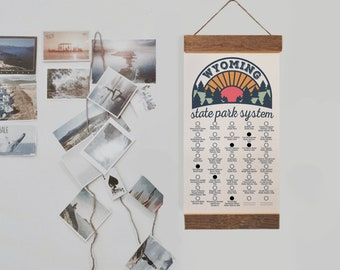 WY State Park Checklists WITH Pen // Wyoming Bucket List // Travel WY Adventure list // Choose Your Design // Home Decor Camp Hike Travel