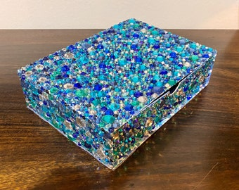 Water Colors Bedazzled Mosaic reusable Gift Box  Jewelry or keepsake With pullout Drawer Box