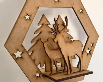 Wooden Laser Cut Santa Sleigh Christmas Craft Accessory Self Assembly