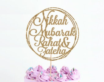 Wedding Nikkah Mubarak Glitter Cake Topper Islamic Engagement Muslim Wedding