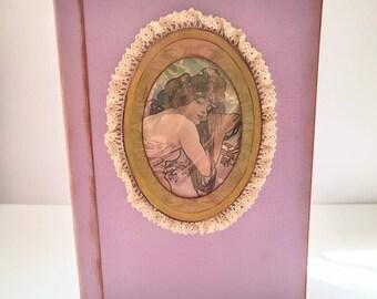 Art Nouveau junk journal, vintage junkjournal, handmade book, book of experience, art notebook, purple book, gift for her, gratitude journal