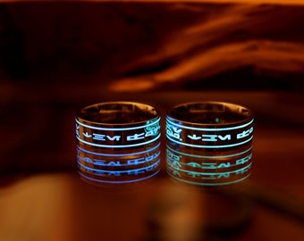 Star Wars Ring - Inspired. Aubesh May Force Be With You (Glow In The Dark) Stainless Steel