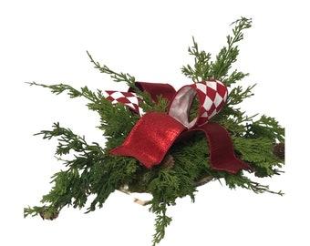 Simple Cedar Tablepiece, Cedar Christmas Decor, Red Christmas Bow, Bespoke Christmas Decor