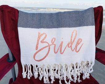 Bachelorette Beach Towel Personalized Bridesmaid Towel Bridal Party Gift, Turkish Beach Towel Wedding Bath Towels Bridesmaid Gift Unique