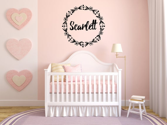 Scarlett Girl Name Wreath Flowers Floral Nursery Kids Room