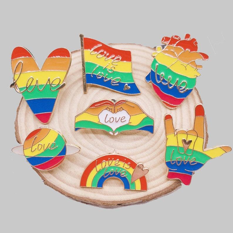 Love Is Love-Rainbow Pin-Pride Pin-Pride Pins-LGBTQ Pins-LGBT Pins-Lapel Pin-Hard Enamel Pin Set Backpack Pins For Backpacks