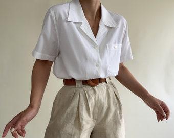 vintage simple white shirt/ boxy fit shirt/ short sleeve white shirt